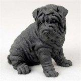 (Shar Pei, Black Original Dog Figurine (4in-5in))