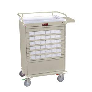 36 Bin Medication Cart w/Narcotics Box and Key Locking System (Gray)
