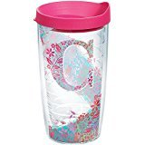 Initial Tumbler - Tervis 1240168 INITIAL-C Botanical Insulated Tumbler with Wrap and Fuschia Lid, 16oz, Clear