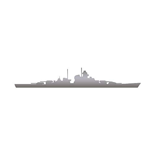 "Cruiser Ship Navy Destroyer - Vinyl Decal Sticker - 9"" x 1.5"" - Silver"