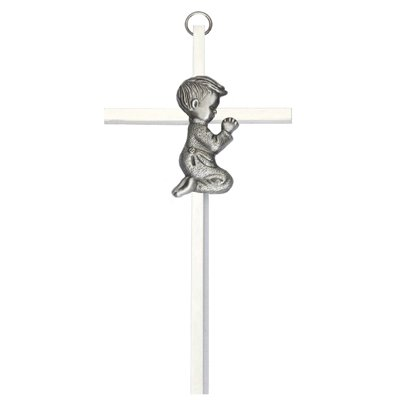 - Silver Tone Praying Boy Baptism Wall Hanging Cross, 6 Inch