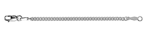 14K White Gold 2.25mm Curb Chain Necklace Extender Safety Chain