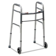 DMI 80210450600 Two-Button Release Folding Walker with wheels Silver/Gray Aluminum 32-38'' H by Reg