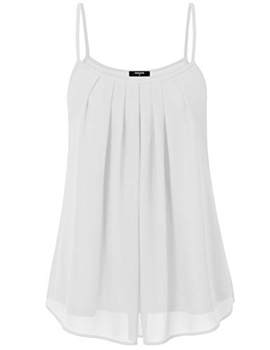 (Lotusmile Women's Summer Cool Casual Sleeveless Pleated Chiffon Layered Cami Tank Top (Small, White))