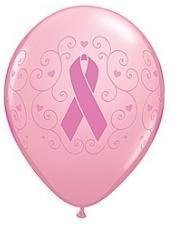Best Friend Pink Ribbon - BREAST Cancer Awareness PINK with Pink RIBBON (50) Latex Balloons Cure Hope