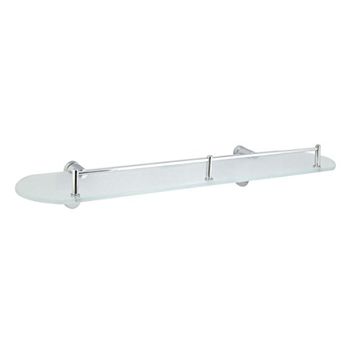 "MODONA 20"" Frosted Glass Shelf with Pre-Installed Rail - Polished Chrome - Oval Series - 5 Year Warrantee"