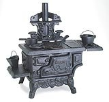 Black Mini Wood Cook Stove Set - 12 Inches Long With Accessories