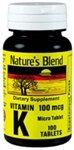Nature's Blend Vitamin K 100Mcg Tablets 100 Ct