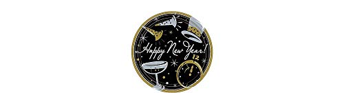 amscan Happy New Year Black  Dessert Paper Plates Value Pack, 50 Ct. | Party Tableware