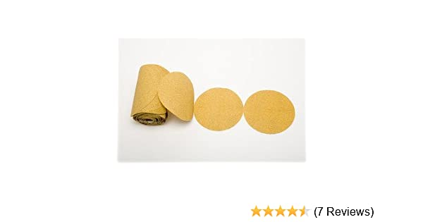 """100 Pack 5/"""" Inch 80 Grit Gold Peel and Stick Adhesive Backed PSA Sanding Discs"""