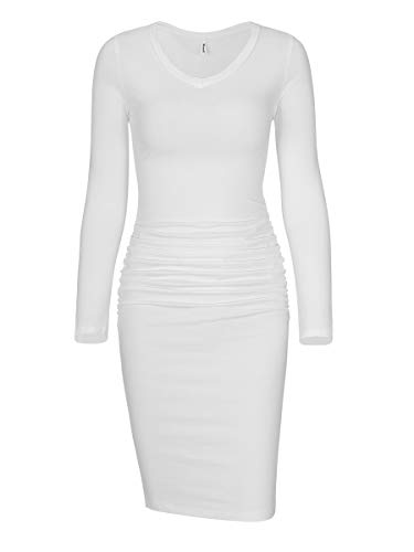Missufe Women's Long Sleeve V Neck Midi Casual Fitted Basic Ruched Bodycon Dress (V Neck Ivory White, Small)
