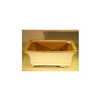 Beige Ceramic Bonsai Pot - Rectangle Professional Series 8.25 x 6.25 x 4.0 : Garden & Outdoor