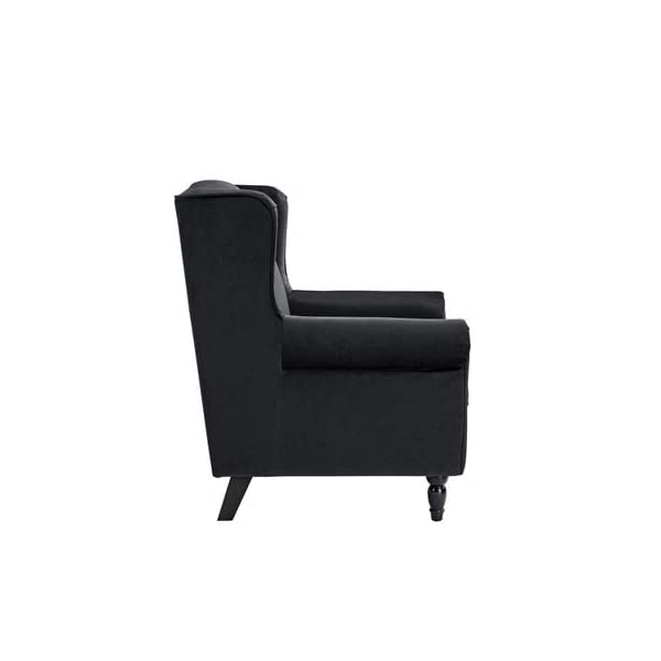 Divano Roma Furniture Classic Scroll Arm Velvet Fabric Accent Chair, Living Room Armchair (Black)