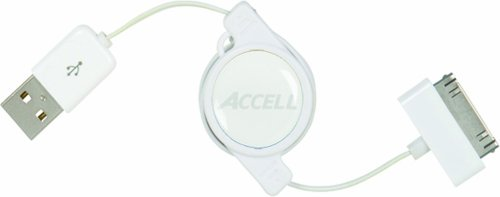 Accell Retractable USB to Dock Connector (iPod) Cable for Charging & USB Syncing - 3 Feet, White, MFi Certified