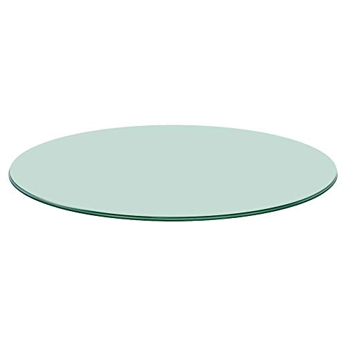 """TroySys Glass Table Top, Pencil Edge, Tempered Glass, 24"""" L Round"""