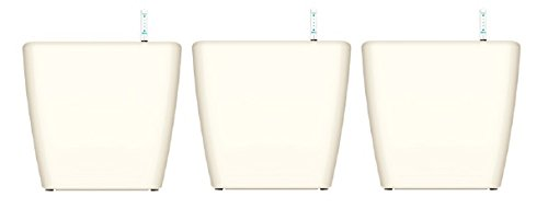 Kit 3 x Maceta autorregable RA1313 decorativa cuadrada de escritorio - Chica moderna interior inteligente - Blanco brilloso -...