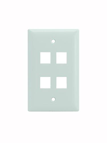 Port Gang Keystone 4 Single - Legrand - On-Q WP3404WH10 Single Gang, 4 Port Keystone Wall Plate, White, 10 Pack