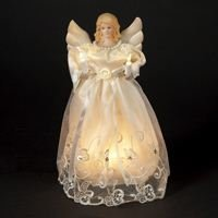 Kurt Adler 10-Inch UL 10-Light Gold/Ivory Angel Treetop (Tree Toppers Angel Lighted)