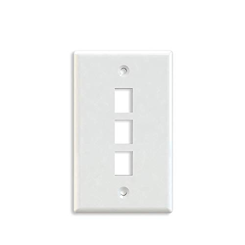 Maxmoral 5-Pack 3-Port Wall Plate Keystone Jack with Screw - White