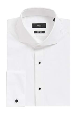 Hugo Boss Men's 'Grant' White Regular Fit 2 Ply Cotton Tuxedo Dress Shirt 16.5, 35/36