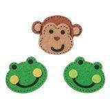 Bulk Buy: Darice Crafts for Kids Felties Felt Stickers Stitched Frogs and Monkeys 16 pieces (3-Pack) FLT-1028 - Monkey Felt