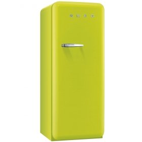 Ft Smeg FAB28ULIR1 24 50s Retro Style Top-Freezer Refrigerator with 9.22 Cu Capacity Ice Compartment Interior Light Adjustable Glass Shelves and Bottle Storage in Lime Green Right