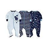 Gerber Onesies Baby Boy Sleep N Play Sleepers 3 Pack (Newborn, Reach For The Stars)