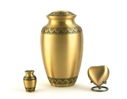 Hand Crafted Brass Athena Bronze Memorial Urn - Keepsake - Includes FREE Liberty Microfiber Cloth