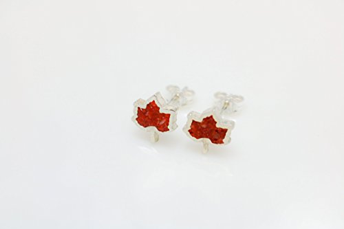 Maple Leaf Coral Micro Mosaic Sterling Silver Stud Earrings, Semi Precious Gemstone by Handmade - Stud Turquoise Coral