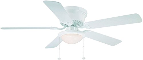 Hampton Bay Hugger 52 in. White Ceiling Fan With Light (Ceiling Fan With 3 Lights)