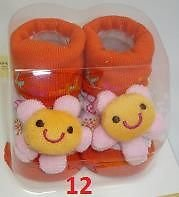 TechnoTec® Recién Nacido Bebé interior algodón antideslizante cálido calcetines animales dibujos animados zapatos zapatillas 8 White Rabbit 12 Sun Flower