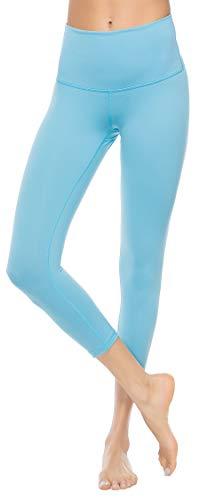 Women's High Waist Yoga Capri Leggings Tummy Control Non See-Through Gym Pants