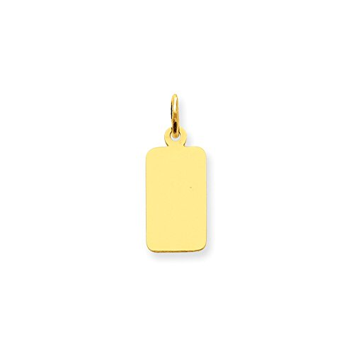 Custom Name Dog Tag Pendant Engravable Charm Rectangle Disc 14K Yellow (Rectangle Engravable Tag)