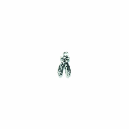 (Shipwreck Beads Pewter Ballet Shoes Charm, Silver, 10 by 19mm, 5-Pack)