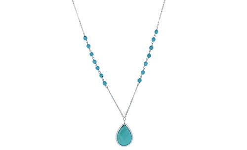 Sterling Silver Turquoise Beaded Tear Drop Necklace (Beaded Silver Necklace)