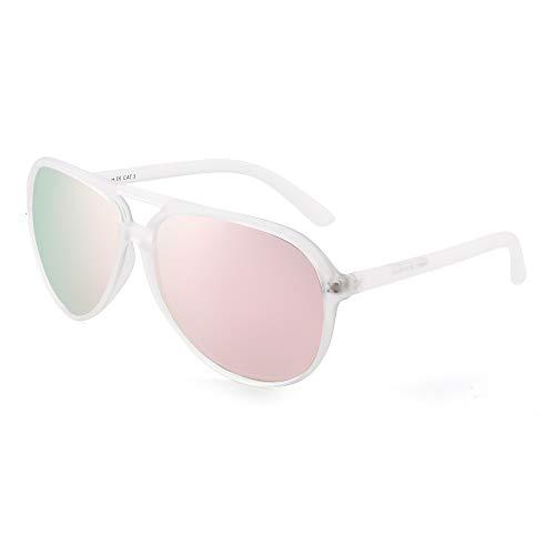 JIM HALO Polarized Aviator Sunglasses Men Women Oversize Plastic Driving Glasses (Matte Transparent Frame/Polarized Pink ()