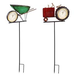 (Evergreen Garden Wheelbarrow and Tractor Thermometer Metal Stakes, Set of 2 )
