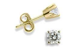 Baby 0.14 TCW Yellow Gold Diamond Stud Earrings by Elite Jewels