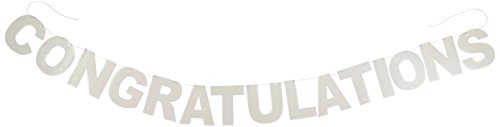 11' Silver Glitter - Glittered Congratulations Streamer Party Accessory (1 count) (1/Pkg)