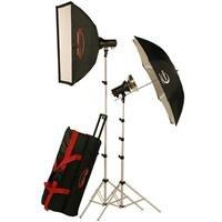 """Photogenic AKC325K Basic Studio 2-Light Soft Box Kit, 2 StudioMax III AKC160 Strobe Monolights, 24x32"""" Soft Box, 45"""" White Panel Umbrella"""