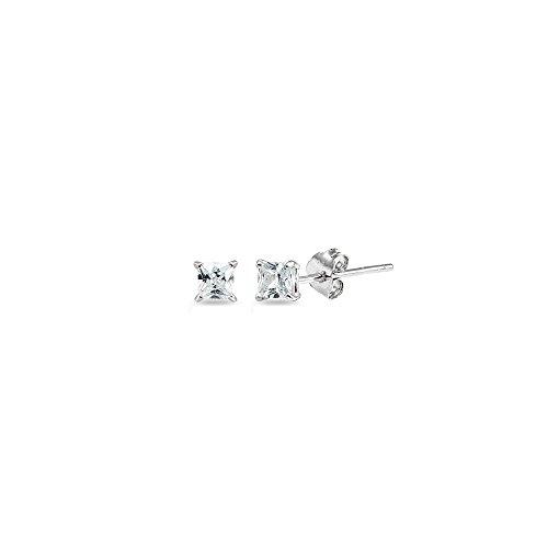 Sterling Silver Cubic Zirconia 2mm Princess-Cut Square Stud Earrings