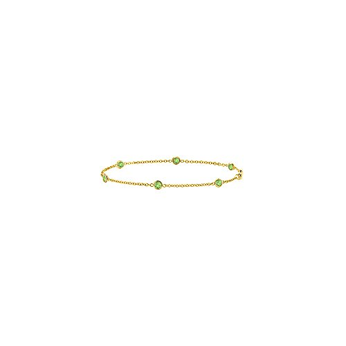 Yellow Gold 14K Peridots Bracelet in 7 Inch Length 0.60 CT TGW 14k Yellow Gold Peridot Bracelet