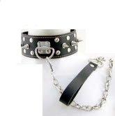 Lockable Studded Bondage Collar with Leish.