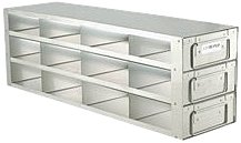 Alkali Scientific 24-Box Capacity (4 Long 6 High) Upright Rack for Standard 5.25 x 5.25 x 2-Inch High Boxes, Stainless Steel, with Handles.