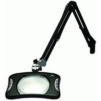 O.C. White 82400-4-B Green-Lite Rectangular LED Magnifier, 2X Magnification, Table Edge Clamp,  43'' Reach, 7'' Length, 5-1/4'' Width Lens, Black