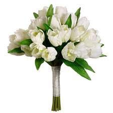 Allstate Floral Silk White Tulips Bouquet/Nosegay 12