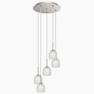 Matte Nickel Five Light (Eglo Lighting 200577A Lorcasa - Five Light Pendant, Matte Nickel Finish with Satin/Clear)