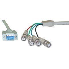 ElectroExperts SVGA (HD15 Male) to BNC (4 Male) Monitor Breakout Cable with Ferrite Bead, Double Shielded, 6 foot