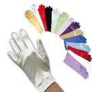[Kids Girls Communion Baptism Christening Satin Short Wrist Gloves for 4-7 years old in Silver] (Halloween Pair Costume Ideas Kids)