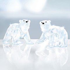 Swarovski Polar Bear Cubs, White Opal Crystal Figurine - Retired 1080774 ()
